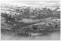Joseph Grant Park and Mount Hamilton Range with snow. San Jose, California, USA ( black and white)