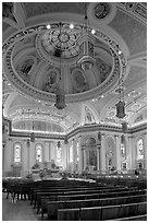 Dome and interior of Cathedral Saint Joseph. San Jose, California, USA (black and white)