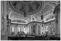 Interior of Cathedral Saint Joseph. San Jose, California, USA (black and white)