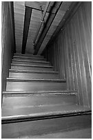 Staircase leading to closed ceiling. Winchester Mystery House, San Jose, California, USA (black and white)