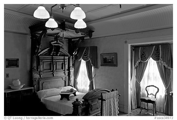 Room where Mrs Winchester died. Winchester Mystery House, San Jose, California, USA (black and white)