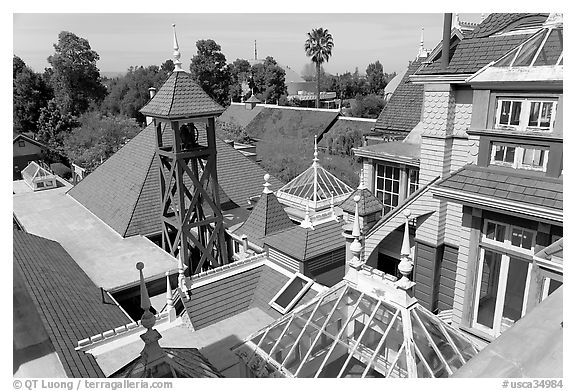 Rooftops. Winchester Mystery House, San Jose, California, USA (black and white)