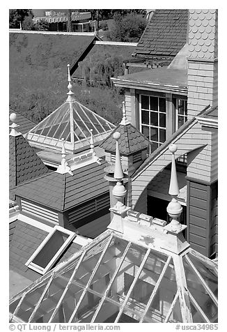 Roofs of some of the 160 rooms. Winchester Mystery House, San Jose, California, USA (black and white)