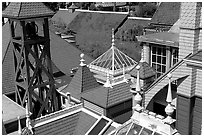 Rooftop detail. Winchester Mystery House, San Jose, California, USA (black and white)