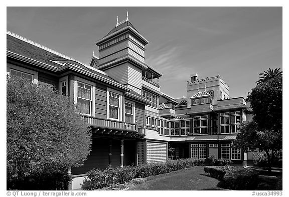 Garden and courtyard. Winchester Mystery House, San Jose, California, USA (black and white)