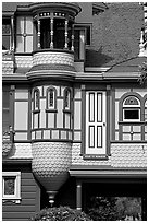 Door to nowhere. Winchester Mystery House, San Jose, California, USA (black and white)