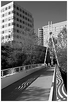 Footbridge on the Guadalupe River. San Jose, California, USA (black and white)