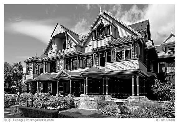 Facade, morning. Winchester Mystery House, San Jose, California, USA (black and white)