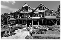 Main facade. Winchester Mystery House, San Jose, California, USA (black and white)