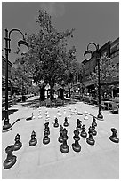 Chess set. Santana Row, San Jose, California, USA ( black and white)