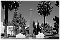 Sphynx and Obelisk, Rosicrucian Park. San Jose, California, USA ( black and white)