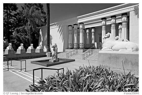 Egyptian Museum at Rosicrucian Park. San Jose, California, USA (black and white)
