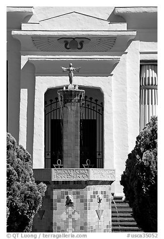 Statue and fountain, Rosicrucian Park. San Jose, California, USA (black and white)