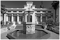 Fountain and temple, Rosicrucian Park. San Jose, California, USA (black and white)