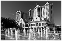 Fountain on Plaza de Cesar Chavez and Fairmont Hotel. San Jose, California, USA (black and white)
