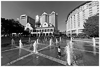 Plaza de Cesar Chavez, late afternoon. San Jose, California, USA (black and white)