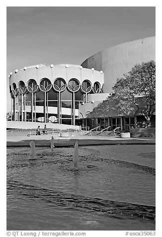 Basin and center for performing arts, late afternoon. San Jose, California, USA (black and white)