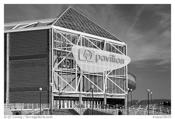 San Jose HP Pavilion, afternoon. San Jose, California, USA (black and white)