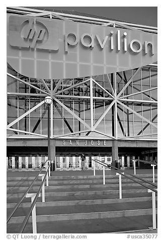 Facade of the HP Pavilion with person walking out. San Jose, California, USA