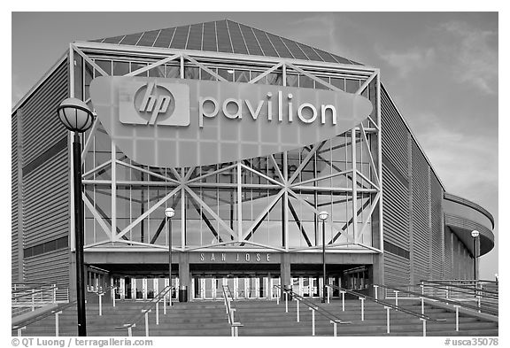 Facade of the HP Pavilion, late afternoon. San Jose, California, USA (black and white)