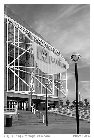 HP Pavilion at San Jose, sunset. San Jose, California, USA (black and white)