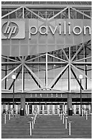 Facade of HP pavilion with San Jose sign, sunset. San Jose, California, USA (black and white)