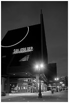 San Jose Rep Theatre at dusk. San Jose, California, USA ( black and white)