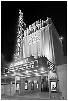 California Theatre at night. San Jose, California, USA (black and white)