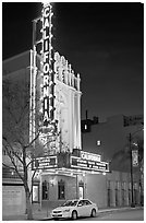 California Theater at night. San Jose, California, USA ( black and white)