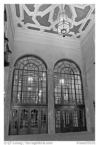 Entrance hall of California Theatre. San Jose, California, USA (black and white)