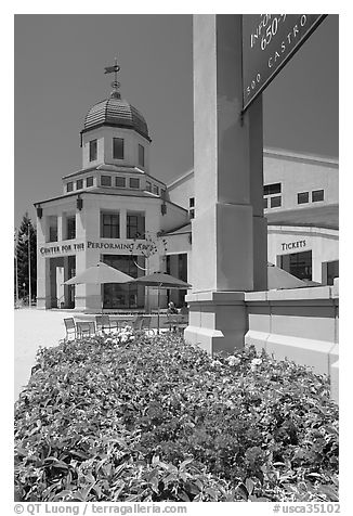 Center for Performing Arts, Castro Street, Mountain View. California, USA (black and white)