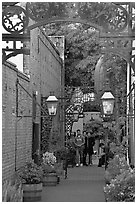 Alley, San Pedro Square. San Jose, California, USA ( black and white)