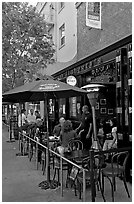 Pub, San Pedro Square. San Jose, California, USA (black and white)