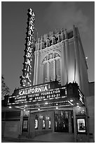 California Theatre at dusk. San Jose, California, USA ( black and white)
