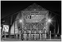 HP Pavilion and street at night. San Jose, California, USA (black and white)