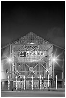 HP Pavilion at night. San Jose, California, USA (black and white)