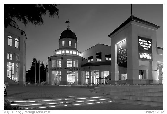Center for Performing Arts at dusk, Castro Street, Mountain View. California, USA (black and white)