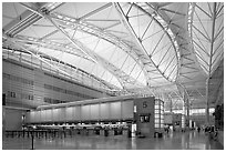 Main hall, San Francisco International Airport. California, USA ( black and white)