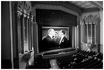 Classic black and white movie showing in Stanford Theatre. Palo Alto,  California, USA (black and white)