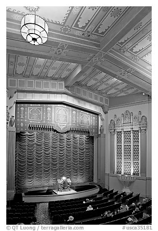 Organist playing during intermission in Stanford Theatre. Palo Alto,  California, USA (black and white)