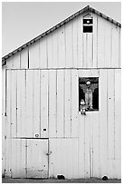 Figures in barn window and cats, Rancho San Antonio Preserve, Los Altos. California, USA ( black and white)