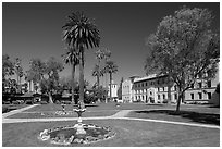 Fountain and gardens near mission, Santa Clara University. Santa Clara,  California, USA (black and white)