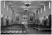 Chapel interior, Mission Santa Clara de Asis, Santa Clara University. Santa Clara,  California, USA (black and white)