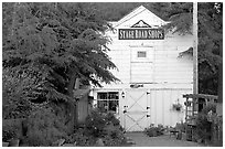 White-facaded store tucked in trees, Pescadero. San Mateo County, California, USA (black and white)