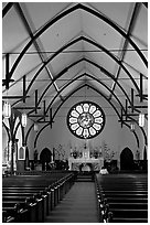 Interior of Church of the Nativity. Menlo Park,  California, USA ( black and white)