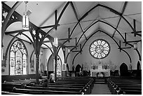 Nativity Church Interior and stained glass. Menlo Park,  California, USA ( black and white)