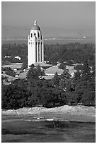 Hoover Tower, Campus, and Lake Lagunata, afternoon. Stanford University, California, USA ( black and white)