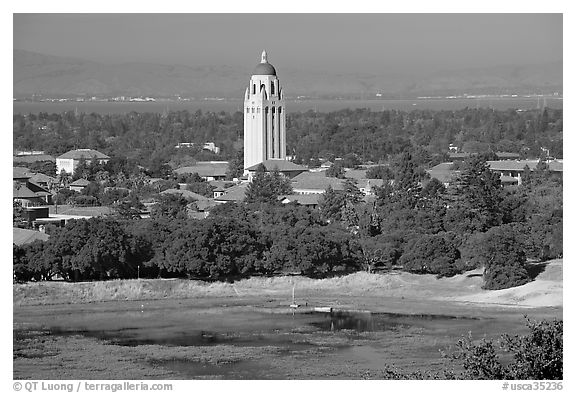 Campus, Hoover Tower, and Lake Lagunata. Stanford University, California, USA (black and white)