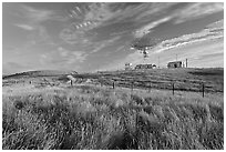 Grasses, fence, and parabolic antenna. Stanford University, California, USA (black and white)