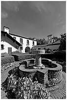 Fountain and garden, Allied Arts Guild. Menlo Park,  California, USA ( black and white)